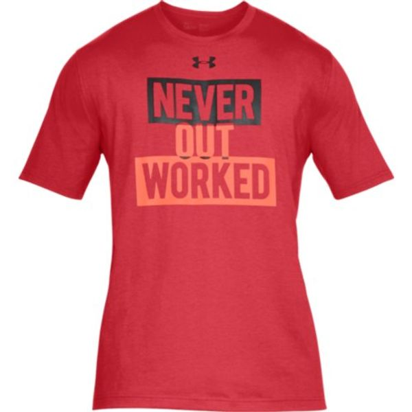 "PolleoSport UA ""Never Out Worked"" Shirt, Red"